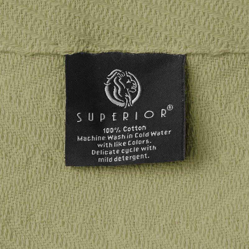 Image 4 of Superior Metro Herringbone Weave Pattern Blanket 100% Cotton Sage Green