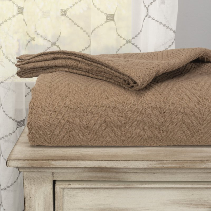 Image 0 of Superior Metro Herringbone Weave Pattern Blanket 100% Cotton Taupe