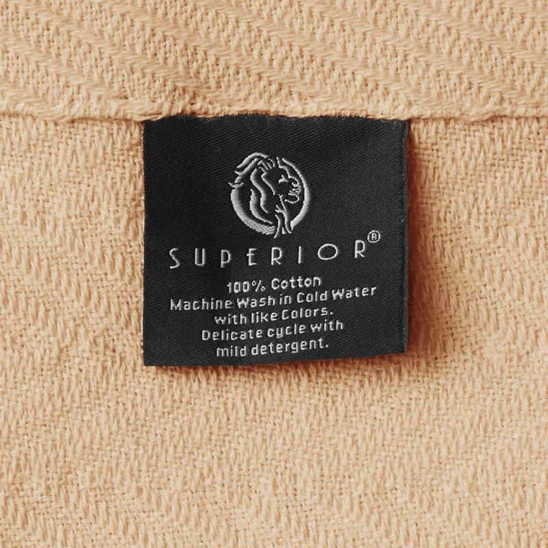 Image 4 of Superior Metro Herringbone Weave Pattern Blanket 100% Cotton Taupe