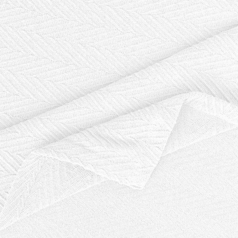 Image 2 of Superior Metro Herringbone Weave Pattern Blanket 100% Cotton White