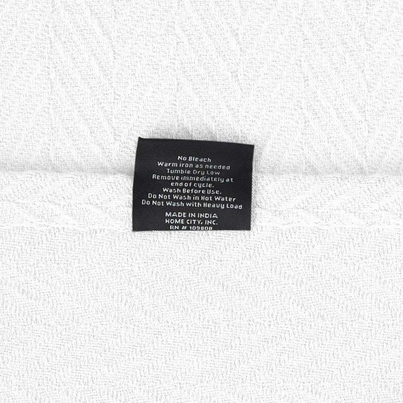 Image 4 of Superior Metro Herringbone Weave Pattern Blanket 100% Cotton White