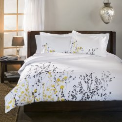 Superior Embroidered Reed Design Duvet Cover & Sham Set 3-Pieces