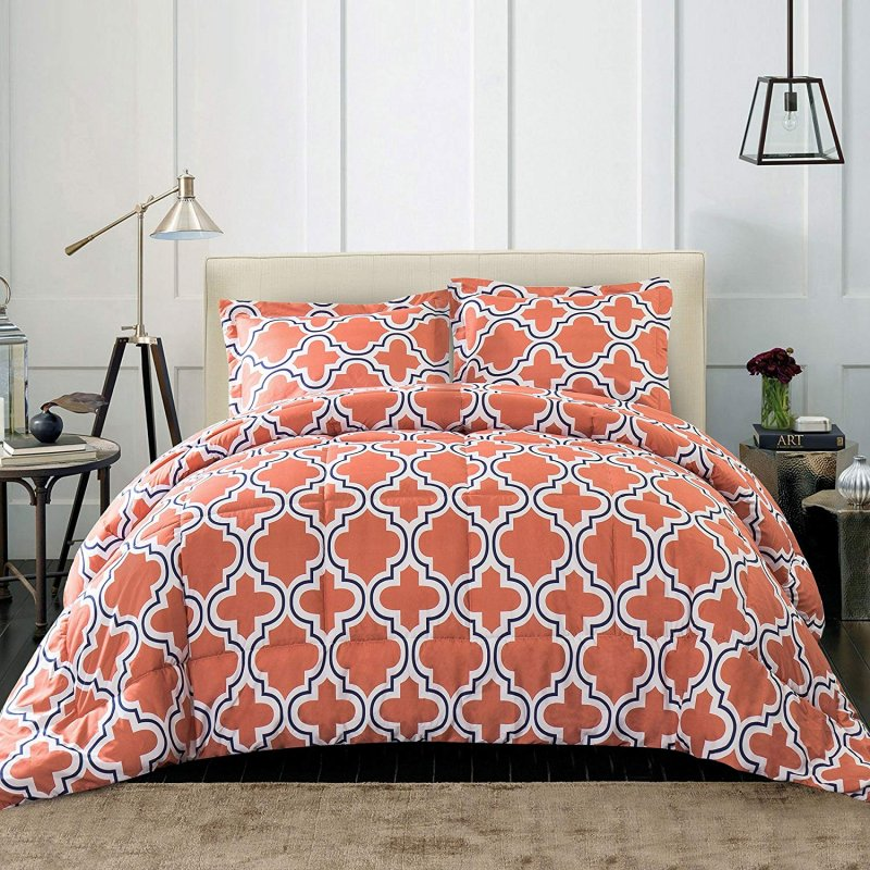 Image 0 of Superior Coral Trellis Geometric Down Alternative Comforter Pillow Sham Set