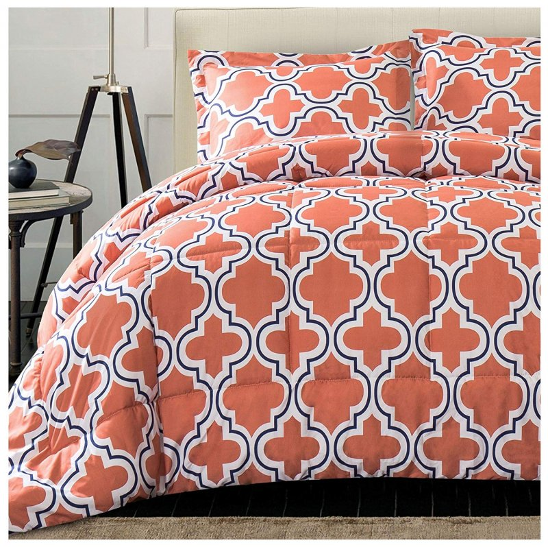 Image 1 of Superior Coral Trellis Geometric Down Alternative Comforter Pillow Sham Set