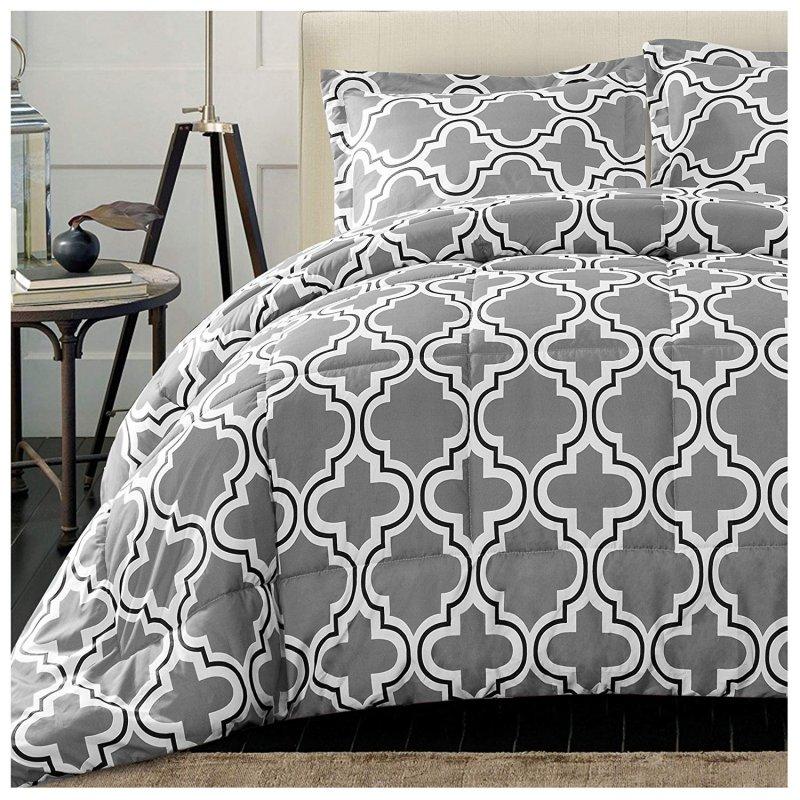 Image 1 of Superior Gray Trellis Geometric Down Alternative Comforter Pillow Sham Set