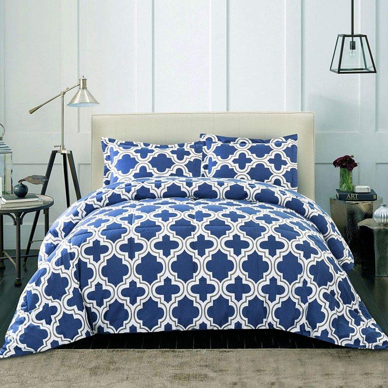 Image 0 of Superior Navy Blue Trellis Geometric Down Alternative Comforter Pillow Sham Set