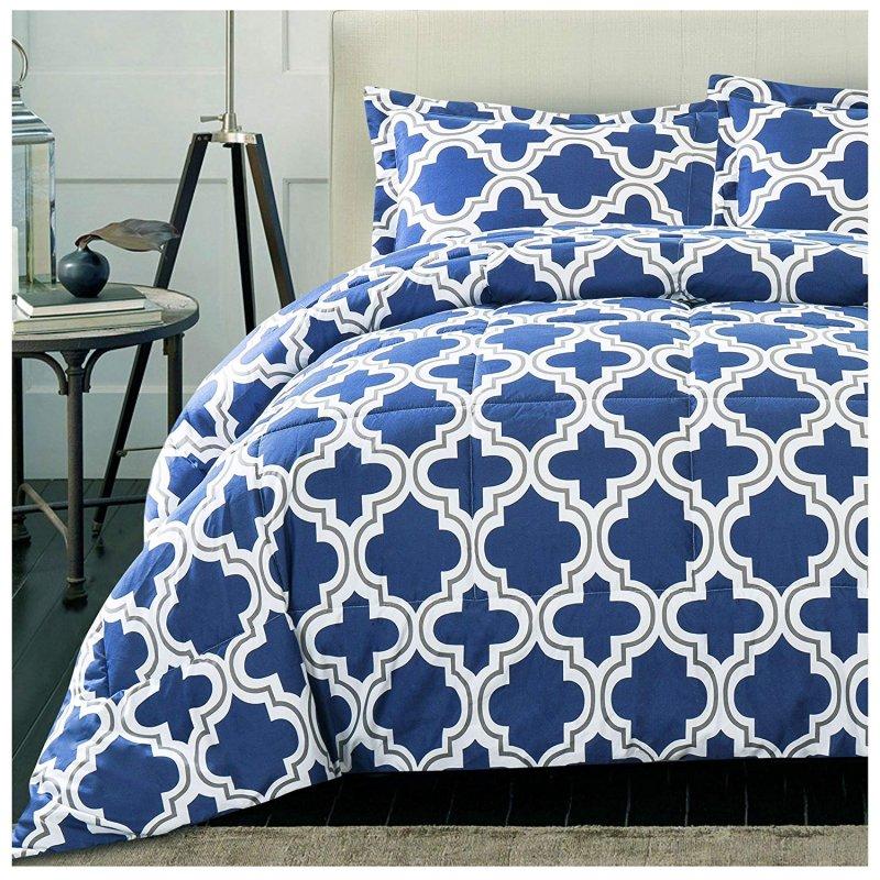 Image 1 of Superior Navy Blue Trellis Geometric Down Alternative Comforter Pillow Sham Set