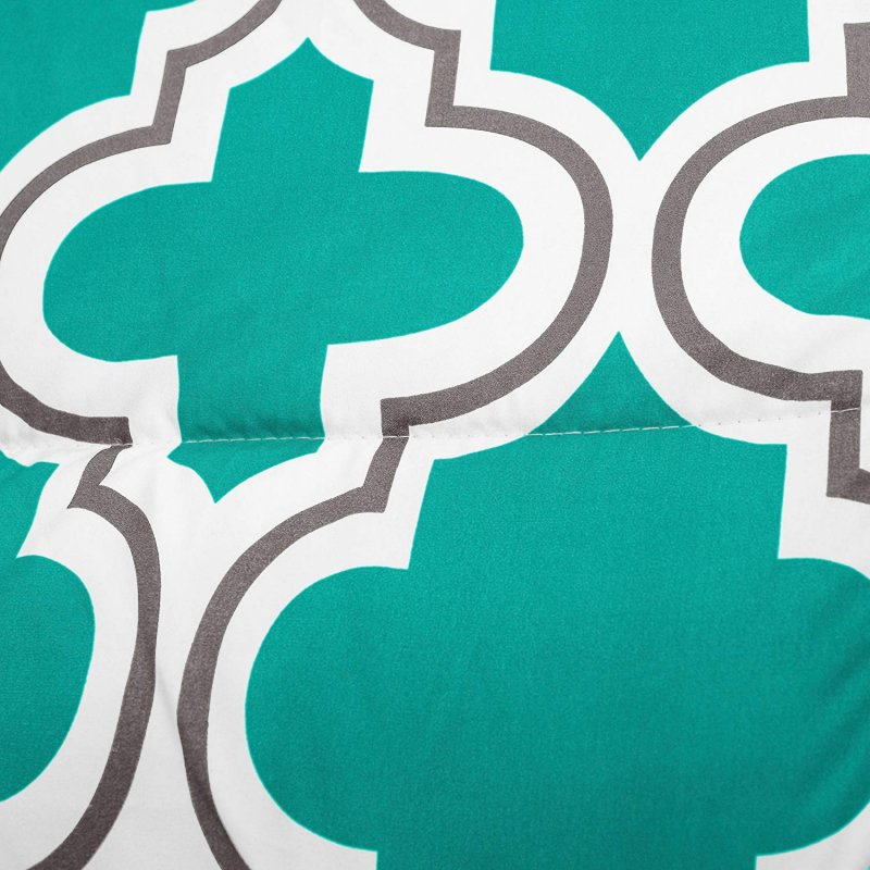 Image 3 of Superior Teal Trellis Geometric Down Alternative Comforter Pillow Sham Set