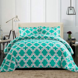 Superior Teal Trellis Geometric Down Alternative Comforter Pillow Sham Set