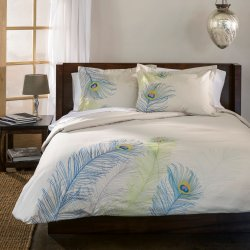 Superior Ivory with Blue & Green Peacock Feathers Duvet Cover & Sham Set