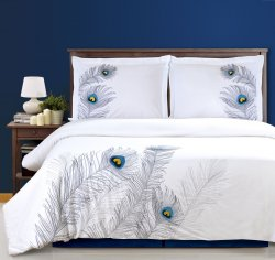 Superior White with Silver Peacock Feathers Duvet Cover & Sham Set