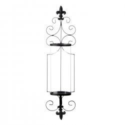 Black Wall Sconce w/ Fleur-De-Lis Design & Clear Glass Hurricane Candle Holder