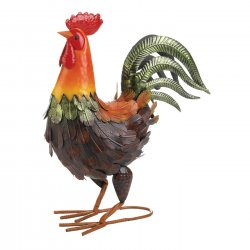 Colorful Farmhouse Rooster Garden Statue 15 High
