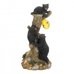 Garden Figurine Three Black Bears Climbing Tree to Get to Solar Honeycomb