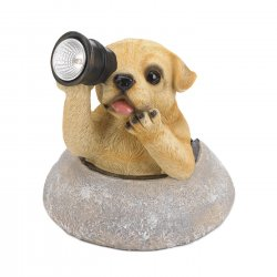 Garden Figurine Puppy Looking Through is Solar LED Lighted Telescope