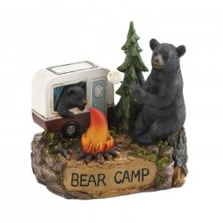 Black Bears Camping Roasting Marshmallows over LED Lighted Camp Fire Figurine