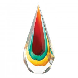 Art Glass Figurine Teardrop Shape w/ Hues Green, Gold & Red Hand-Crafted