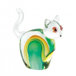 Art Glass Cat Figurine Statue w/ Hues Green Hand-Crafted