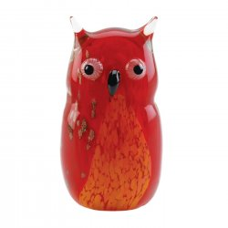 Art Glass Owl Figurine Statue Red Hand-Crafted