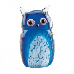Art Glass Owl Figurine Statue Blue Hand-Crafted