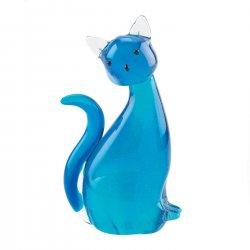 Art Glass Cat Figurine Statue Blue Hand-Crafted