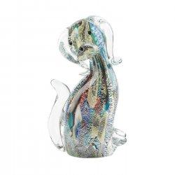 Art Glass Designer Dog Figurine Statue Multi-Color Melded Together Hand-Crafted