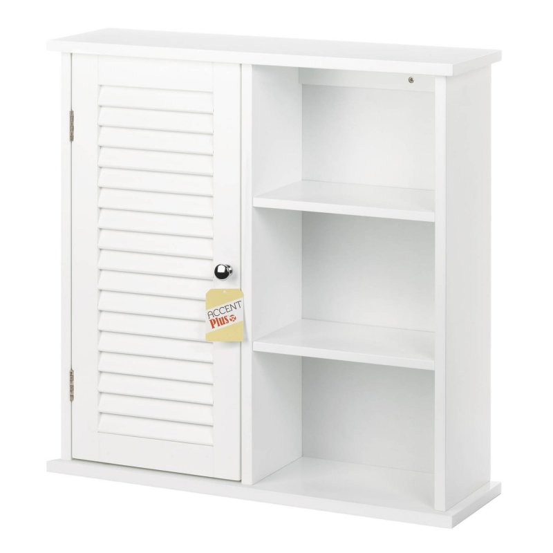Image 2 of Wall Storage Cabinet w/ Louvered Door on One Side & 3 Open Shelves White