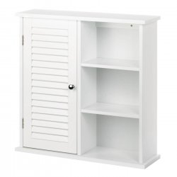Wall Storage Cabinet w/ Louvered Door on One Side & 3 Open Shelves White