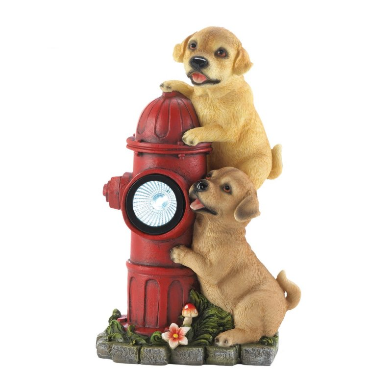 Image 1 of Two Firefighting Pups on Solar Fire Hydrant Garden Figurine
