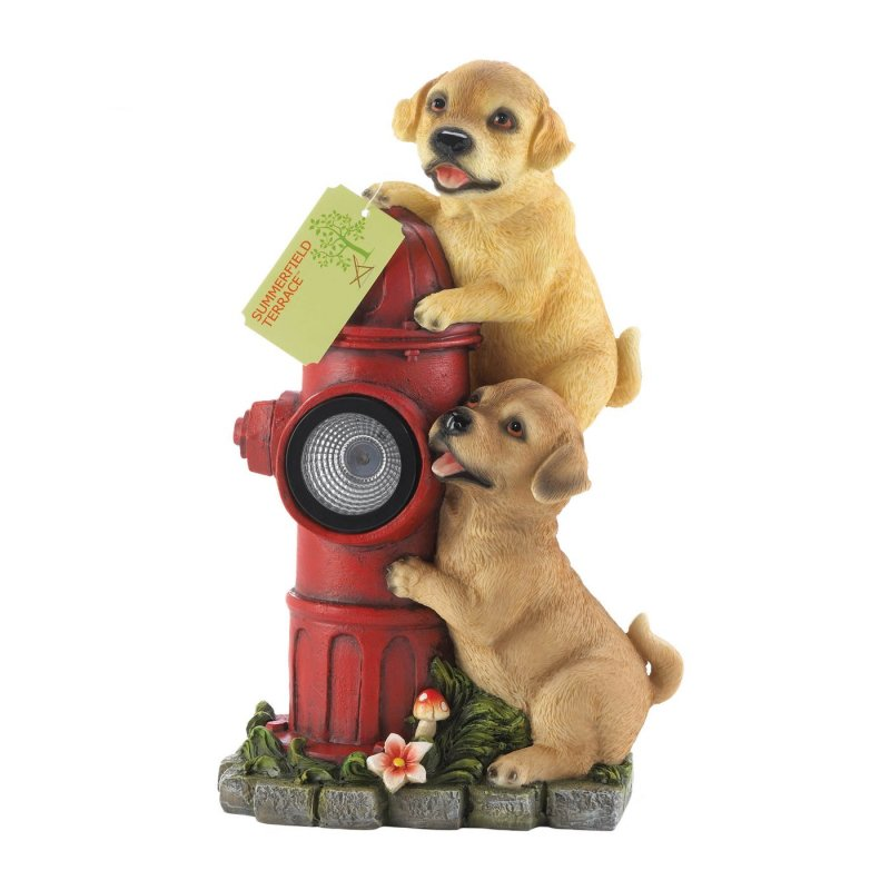 Image 2 of Two Firefighting Pups on Solar Fire Hydrant Garden Figurine