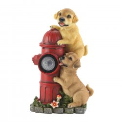 Two Firefighting Pups on Solar Fire Hydrant Garden Figurine