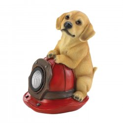 Firefighting Pup on Solar Fire Helmet Garden Figurine