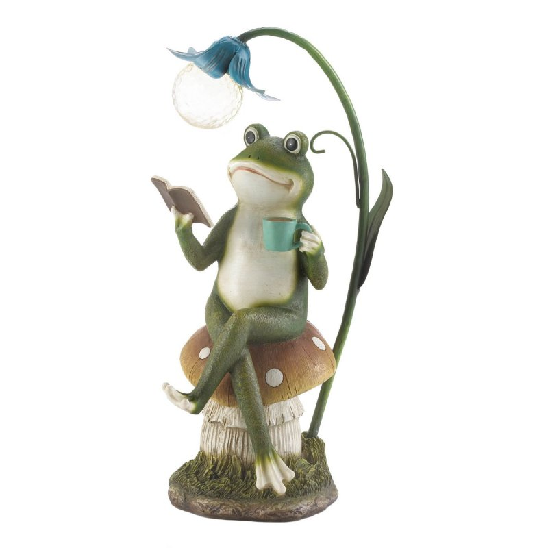 Frog reading on a mushroom statue weighs 2.2 lbs.  This adorable frog with solar light sipping coffee on a mushroom measures at 7 x 8.5 x 15.5 inches.  Reading frog lounging on a mushroom made of p