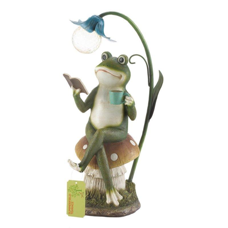 Image 2 of Frog Sitting on Mushroom Reading Book w/ Solar Lamp Garden Figurine