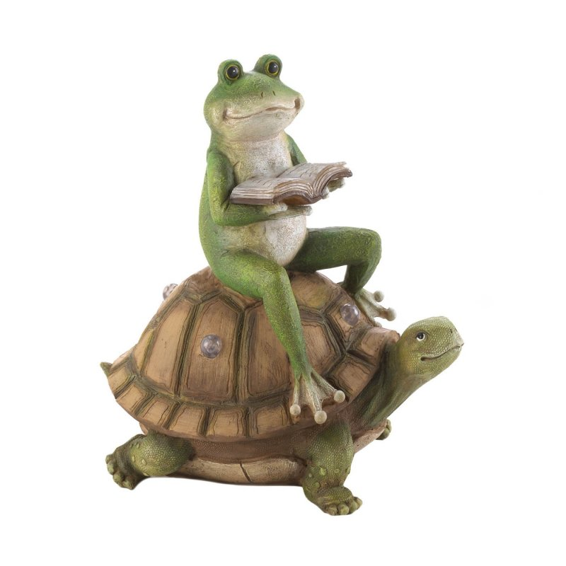 Frog reading on a turtle weighs 2.4 lbs.  This adorable frog enjoying his book while riding on a turtle measures at 10.5 x 7 x 11 inches.  Reading frog lounging on a turtle made of polyresin, stone