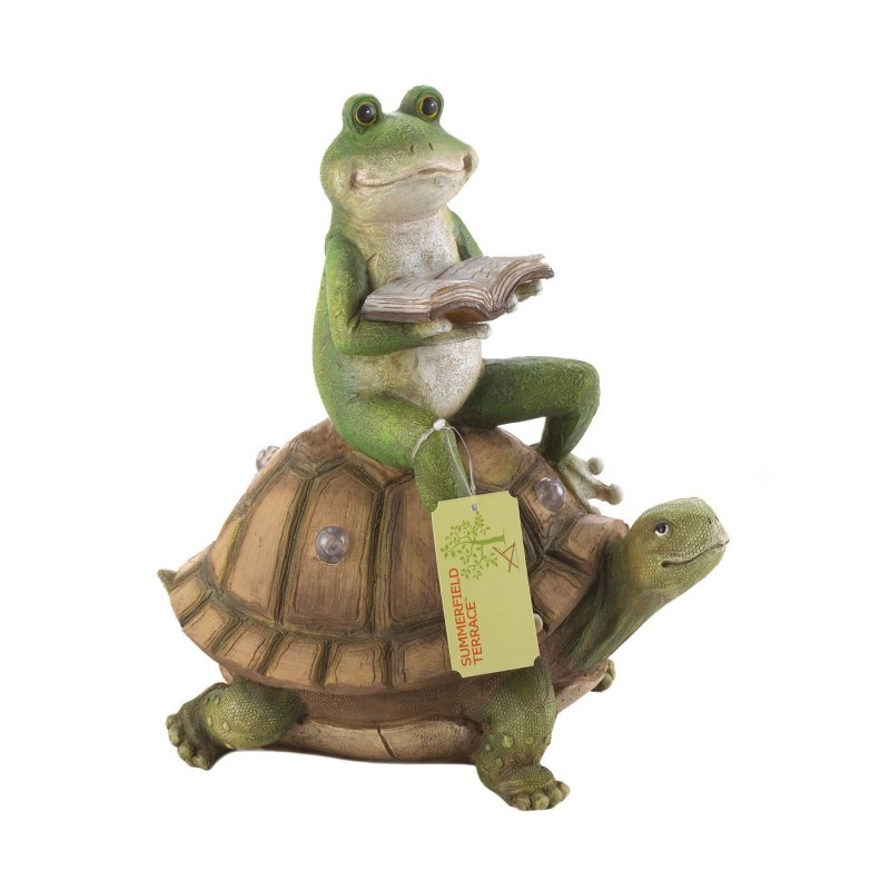 Image 2 of Frog Sitting Solar Turtle Reading a Book Garden Figurine