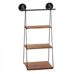 Three Tier Wall Shelves Iron Frame & Fir Wood 26 High Industrial Style