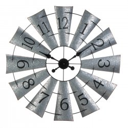Windmill Shaped Wall Clock Galvanized Metal Industrial Style 33 Diameter