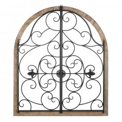 Arched Wood & Wrought Iron Wall Plaque Gate Design 35 High Indoors/Outdoors