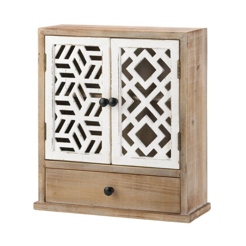 Cabinet with drawer weighs 8.6 lbs.  This beautifully crafted wall cabinet with drawer measures at 16.25 x 6.25 x 18 inches.  Geometric inspired cabinet made of MDF wood, fir wood, plywood, and iron