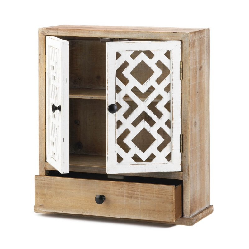 Image 1 of Rustic Wooden Wall Cabinet w/ White Geometric Design Doors For Bathroom, Laundry