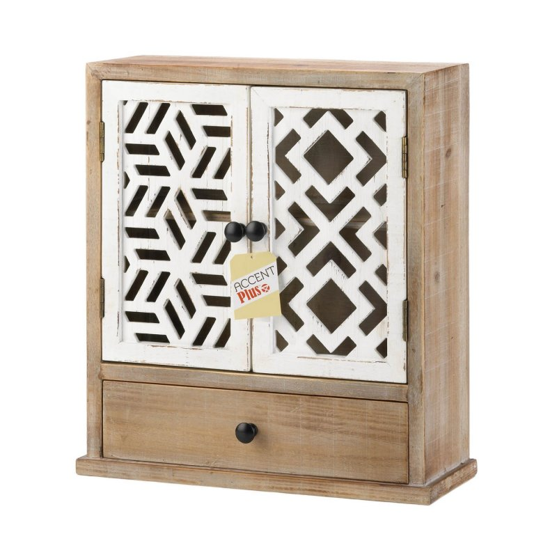 Image 2 of Rustic Wooden Wall Cabinet w/ White Geometric Design Doors For Bathroom, Laundry