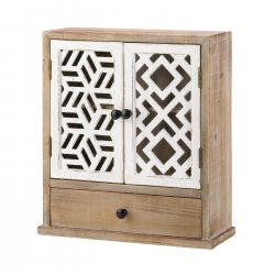 Rustic Wooden Wall Cabinet w/ White Geometric Design Doors For Bathroom, Laundry
