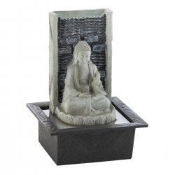 Cascading Tabletop Fountain Peaceful Sitting Buddha w/ LED Light