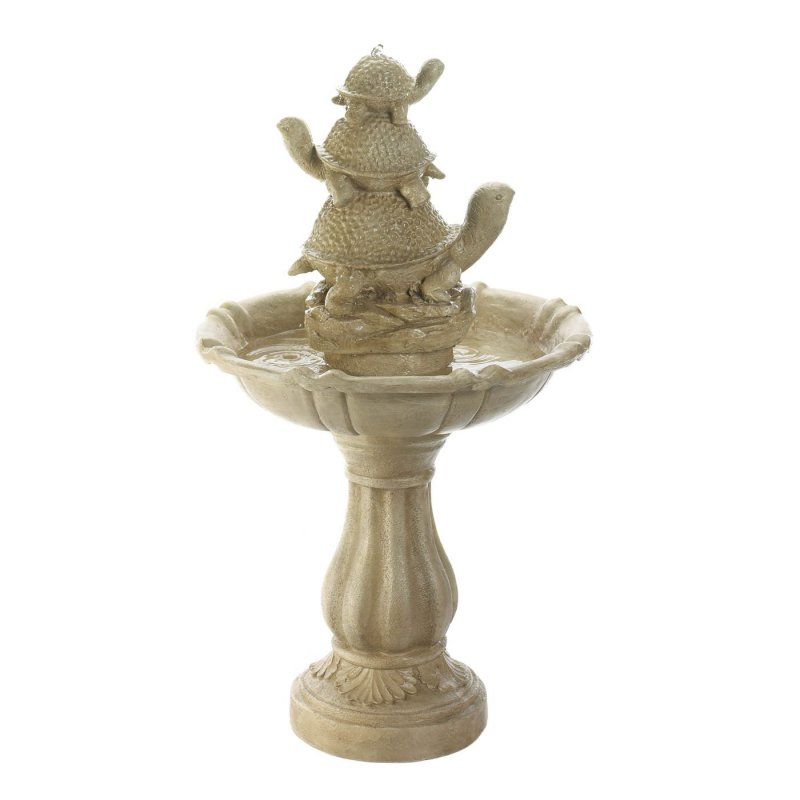 Ivory color fountain weighs 25.6 lbs.  This adorable turtle trio water fountain measures at 22 x 22 x 37.5 inches.  Beautifully sculpted garden fountain made of fiberglass.
