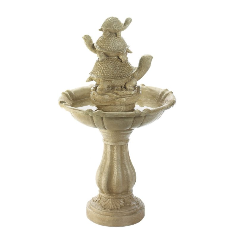 Image 1 of Outdoor Garden Fountain w/ Trio of Turtles Stacked on Top 37.5