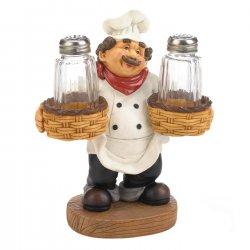 Salt & Pepper Shakers w/ Standing Chef Holder