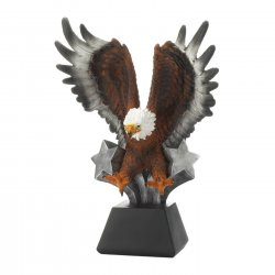 Bald Eagle in Flight w/ Stars Bursting at Base Figurine Statue