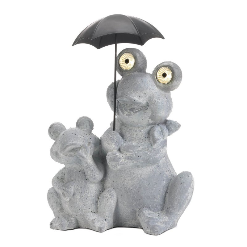 Image 1 of Solar Frogs Sitting Under Umbrella LED Light Up Eyes Gray Water & Rust Resistant