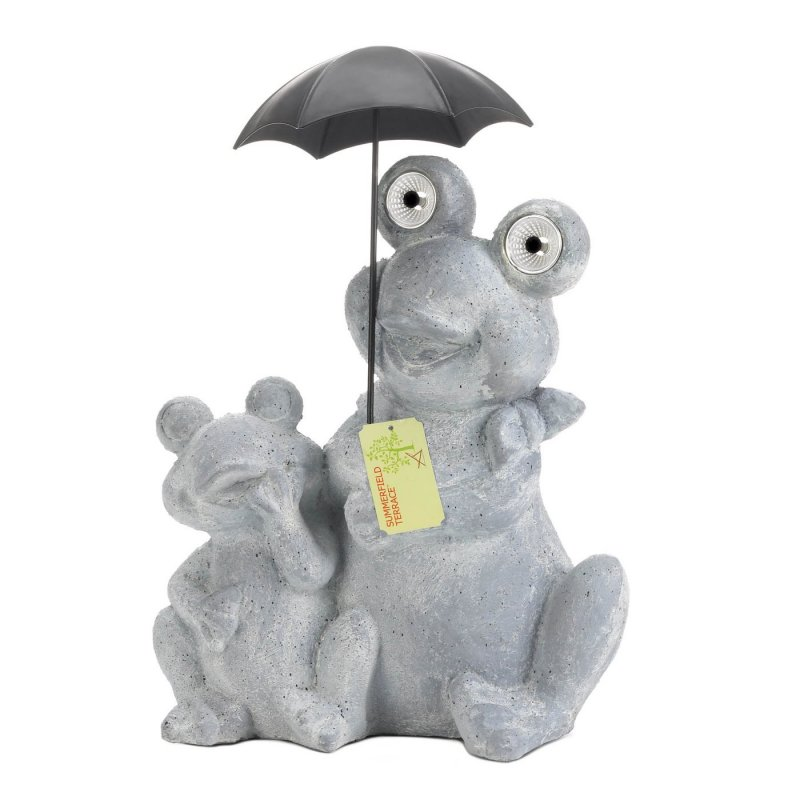 Image 2 of Solar Frogs Sitting Under Umbrella LED Light Up Eyes Gray Water & Rust Resistant